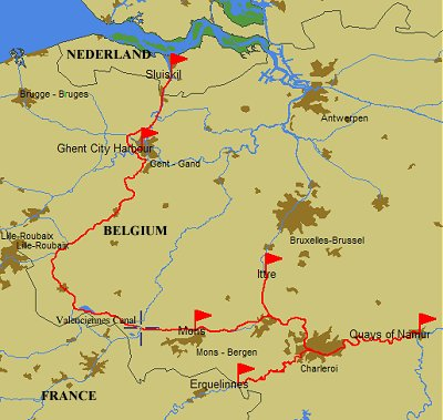 2011 route from Gent to Namur