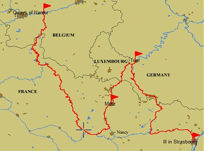 2011 route Namur to Stasbourg via Germany