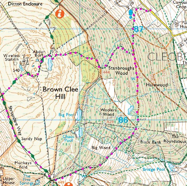 Brown Clee Hill map.
