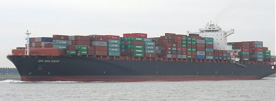 Container ship on the Westerschelde
