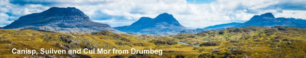 Canisp, Suilven and Cul Mor from Drumbeg.