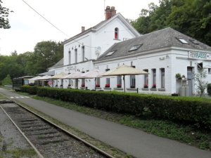 The old railway station at Maredsous