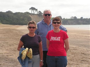 Maryanne, Fred and Sue on Auckland beach