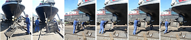 Refitting the repaired rudder