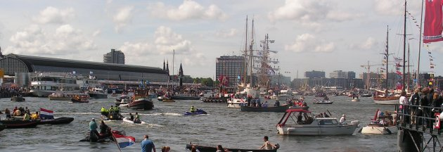 Arrival of the tall ships at Sail Amsterdam 2010