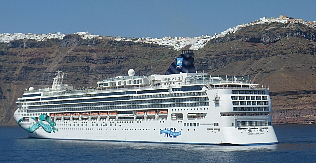 Cruise liner at Santorini