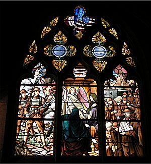 US soldiers memorial window in Semur Notre Dame