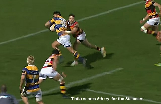 Tiatia scores 5th try  for the Steamers
