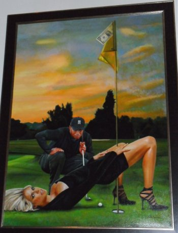 Tiger Woods painting in O'Prezzo restaurant Rotterdam