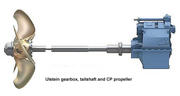 Ulstein gearbox, tailshaft and CP propeller.