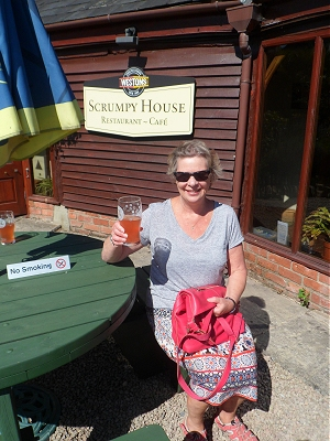 Sue enjoying a Flat Tyre at Weston Cider Mill, Much Marcle